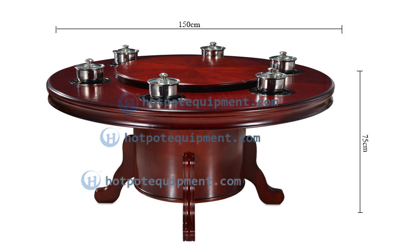 Custom Red Wooden Restaurant Hot Pot Table Size - CENHOT