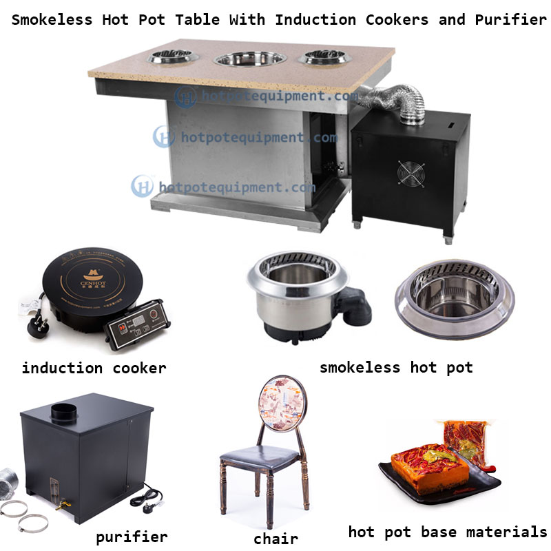 Smokeless Hot Pot Table With Induction Cookers - CENHOT